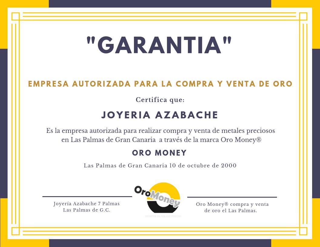 Certificado de garantía - Compra y venta de oro Las Palmas - Oro Money